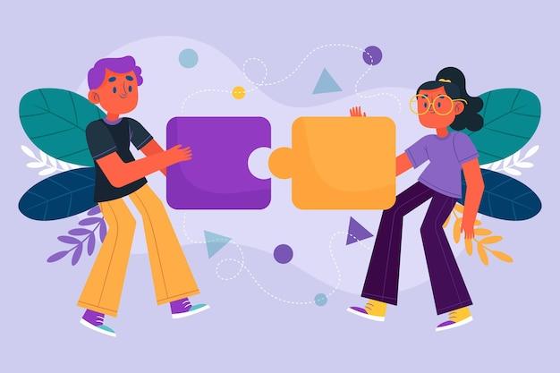 Ilustración del concepto de trabajo en equipo