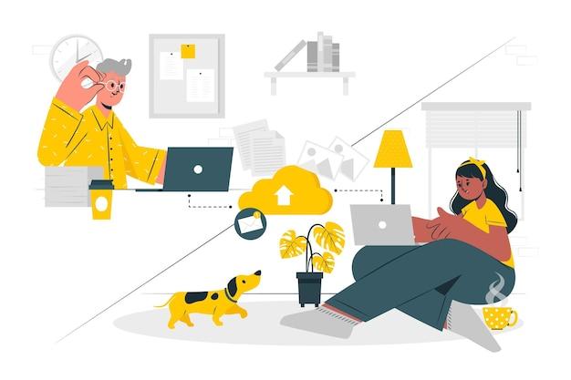 Ilustración de concepto de trabajo de forma remota