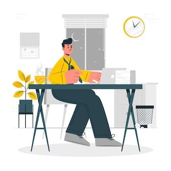Ilustración de concepto de trabajo tarde