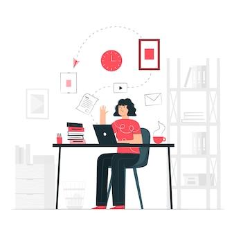 Ilustración del concepto de en el trabajo
