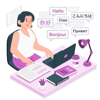 Ilustración del concepto de traductor