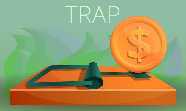 Ilustración de concepto de trampa de dinero, estilo de dibujos animados