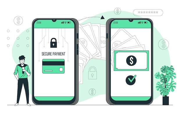 Ilustración de concepto de transacciones en línea