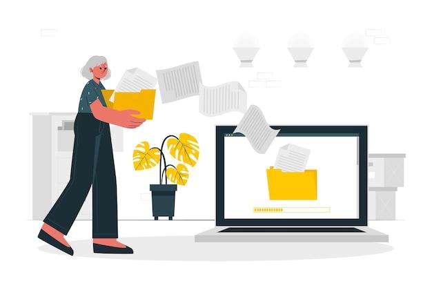 Ilustración de concepto de transferencia de archivos