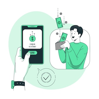 Ilustración de concepto de transferencia de dinero