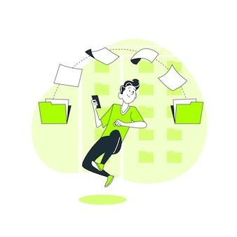 Ilustración del concepto de transferir archivos