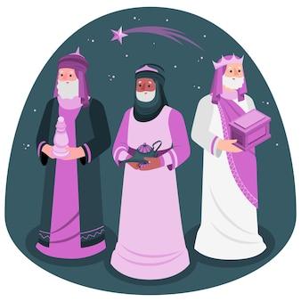 Ilustración del concepto de tres reyes magos