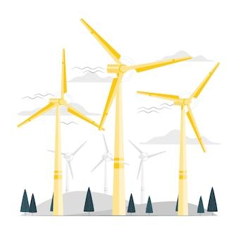 Ilustración del concepto de turbina eólica