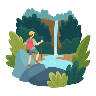Ilustración del concepto de turismo ecológico