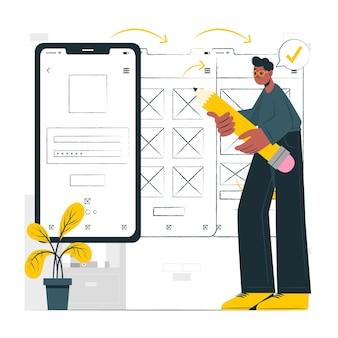 Ilustración de concepto de ux móvil