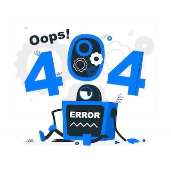 Ilustración del concepto de uy! error 404 con robot roto