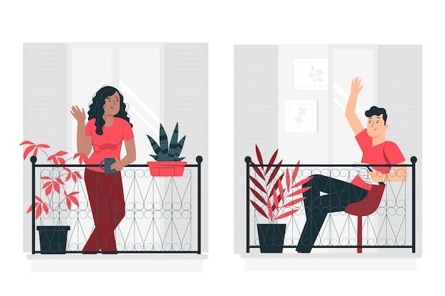 Ilustración del concepto de vecinos en los balcones/ventanas