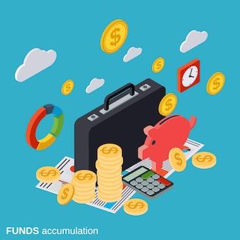 Ilustración de concepto de vector de acumulación de fondos