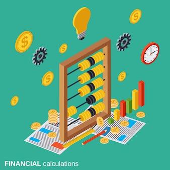 Ilustración de concepto de vector de cálculos financieros