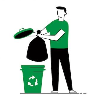 Ilustración de concepto de vector de clasificación de residuos de un hombre, bolsas de basura y bote de basura aislado.