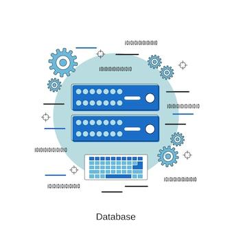 Ilustración de concepto de vector de estilo de diseño plano de base de datos