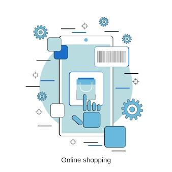 Ilustración de concepto de vector de estilo de diseño plano de compras en línea