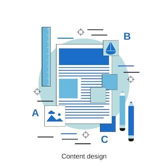 Ilustración de concepto de vector de estilo de diseño plano de diseño de contenido