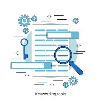 Ilustración de concepto de vector de estilo de diseño plano de herramientas de palabras clave