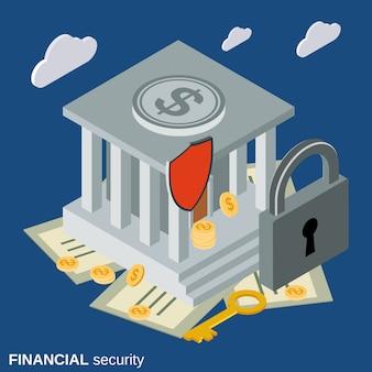 Ilustración de concepto de vector isométrica plana 3d seguridad financiera