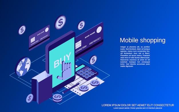 Ilustración de concepto de vector isométrico plano 3d de compras móviles