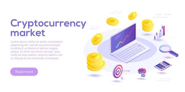 Ilustración de concepto de vector isométrico de transferencia de criptomoneda cambio de moneda digital crypto ot