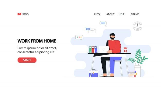 Ilustración de concepto de vector plano un hombre freelance trabajando en casa con el portátil.