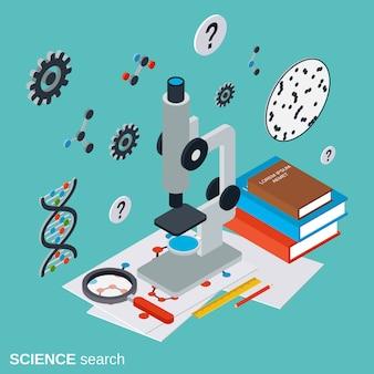 Ilustración de concepto de vector plano isométrico de búsqueda de ciencia