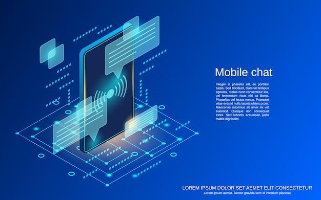 Ilustración de concepto de vector plano isométrico de chat móvil