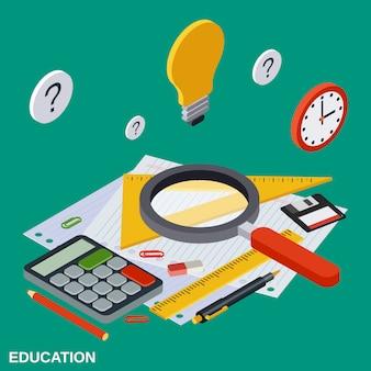 Ilustración de concepto de vector plano isométrico de educación escolar