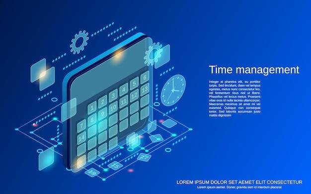 Ilustración de concepto de vector plano isométrico de gestión de tiempo