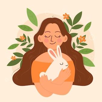 Ilustración de concepto vegano y libre de crueldad dibujado