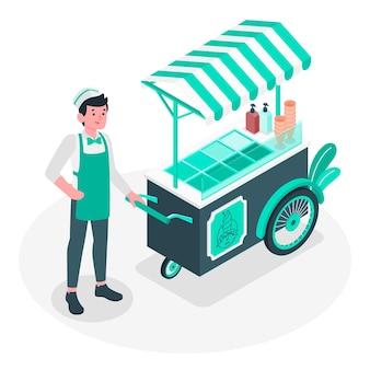 Ilustración del concepto de vendedor de helado