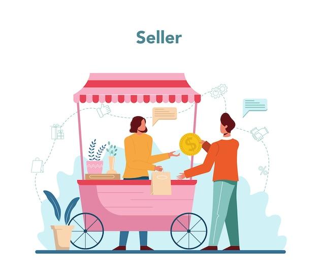 Ilustración del concepto de vendedor