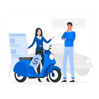 Ilustración del concepto de venta de vehículo