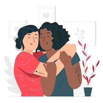 Ilustración del concepto de verdaderas amigas