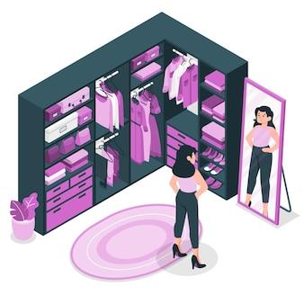 Ilustración del concepto de vestidor