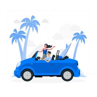 Ilustración del concepto de viaje por carretera