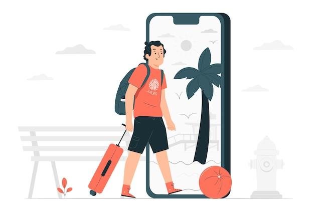 Ilustración del concepto de viaje