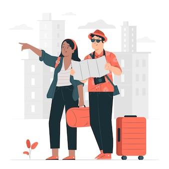 Ilustración del concepto de viajeros