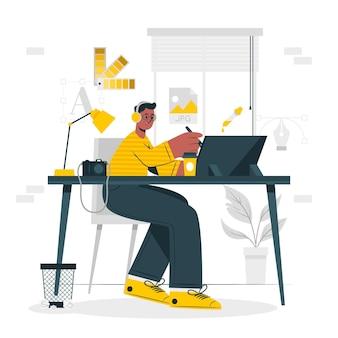 Ilustración del concepto de vida del diseñador