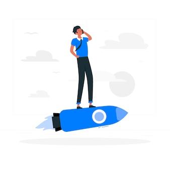 Ilustración del concepto de vida de startup