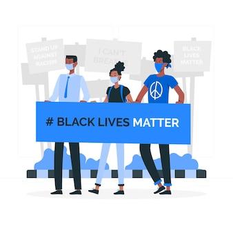 Ilustración del concepto de las vidas negras importan