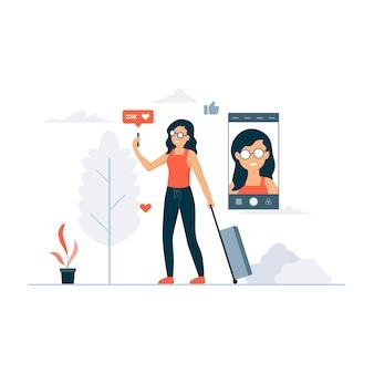 Ilustración de concepto de video blogger de viaje