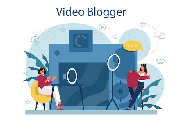 Ilustración de concepto de video blogger