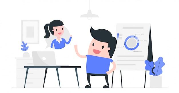 Ilustración del concepto de video conferencia.