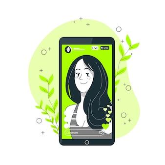 Ilustración del concepto de video en directo de instagram