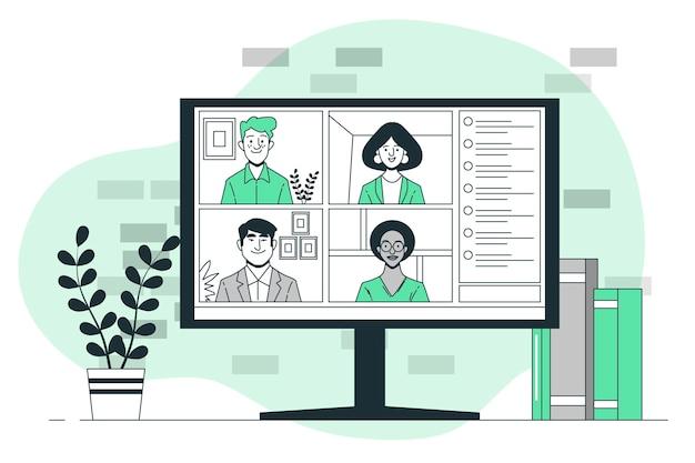 Ilustración de concepto de video grupal