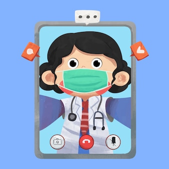 Ilustración de concepto de video llamada médico