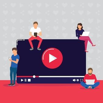 Ilustración del concepto de video de personas jóvenes que usan dispositivos móviles, tablet pc y teléfonos inteligentes para ver en vivo un video a través de internet.